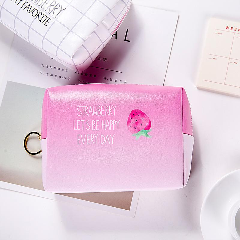 2019 Hot Sale Fruit Print Waterproof PU Cosmetic Bag Large Capacity Makeup Bag