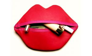 Hot Fashion Promotional Red Neoprene lip shaped cosmetic bag Makeup Pouch