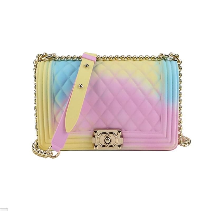 2019 hot sell Fashion 9 colors women ol rainbow gradual color change pu leather chain multiway purse handbags