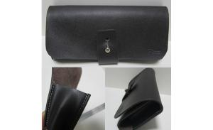 hot sale real leather black glasses case, soft leather large size sun glasses case with metal clip