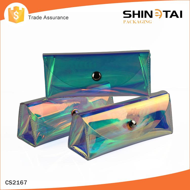 custom transparent pvc sunglasses case with packing glasses