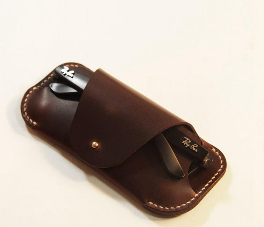 Hand made leather sunglasses case wholesales hard glasses case