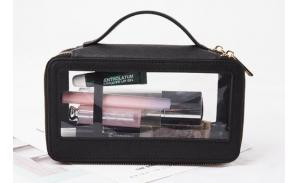 Transparent clear leather cosmetic bag fashion luxury leather  pvc cosmetic bag