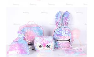 Pink Holographic Sequin and Faux Leather travel cosmetic bag collect bag