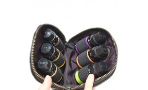 Small Essential Oil Carrying/Travel Case - Classic Genuine Black Leather