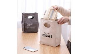 Fashion recycle eco-friendly folding insulated food drink rice waxed canvas lunch bag
