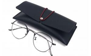 Black Leather Case for Glasses Frames Wholesale Eyeglass Case Custom Sunglasses Packaging Boxes Cheap Price