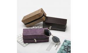 CE certificate custom logo brand design cheap wholesale leather sunglasses case