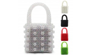Womens Pearl Bag Handmade Beaded Handbags Evening Clutch Tote Weave Crystal Bags